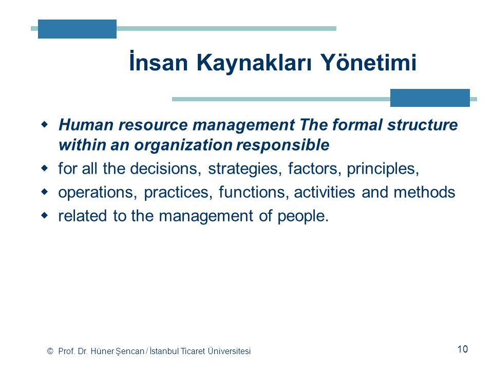 İnsan Kaynakları Yönetimi