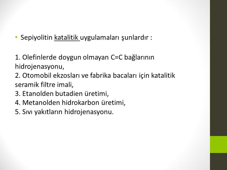 Sepiyolitin katalitik uygulamaları şunlardır :