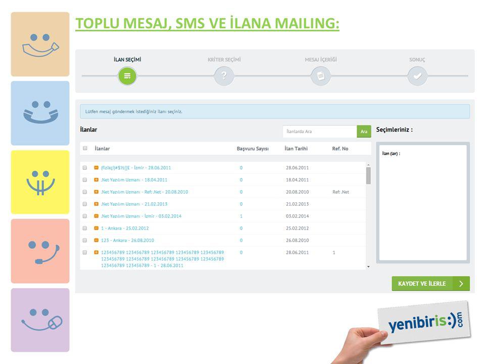 TOPLU MESAJ, SMS VE İLANA MAILING: