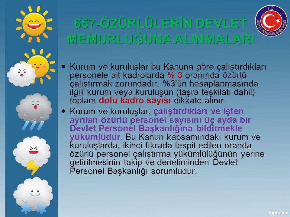 657-ÖZÜRLÜLERİN DEVLET MEMURLUĞUNA ALINMALARI