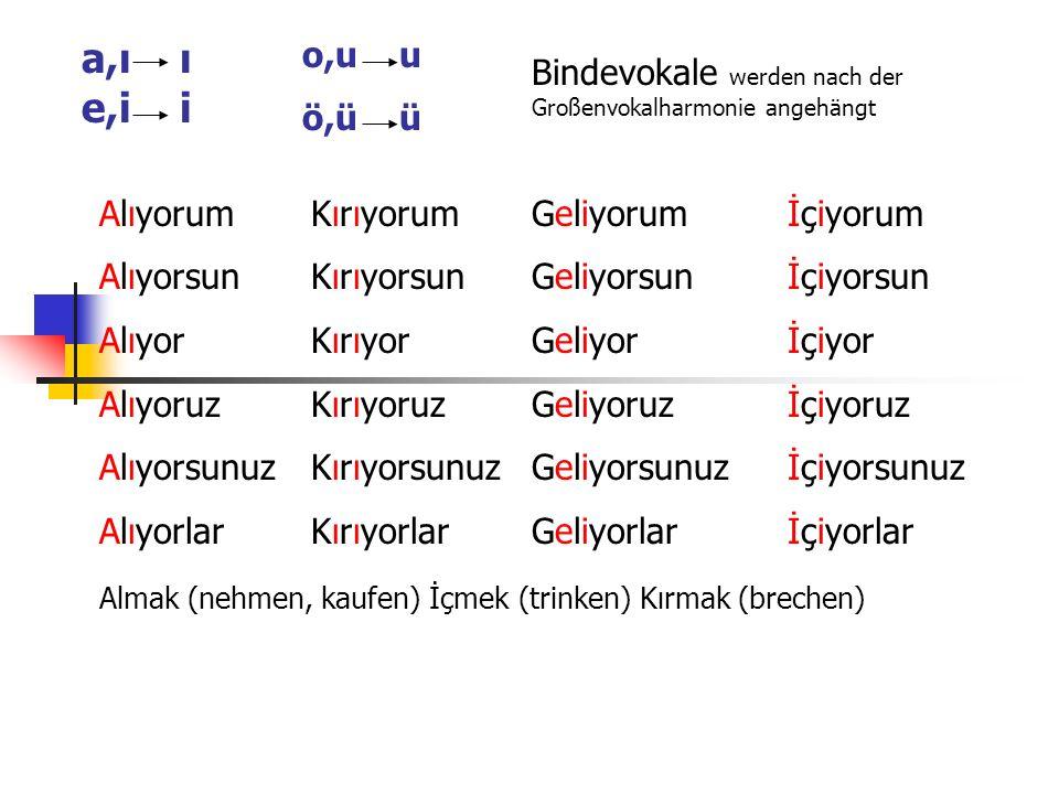 o,u u ö,ü ü. a,ı ı e,i i. Bindevokale werden nach der Großenvokalharmonie angehängt. Alıyorum.