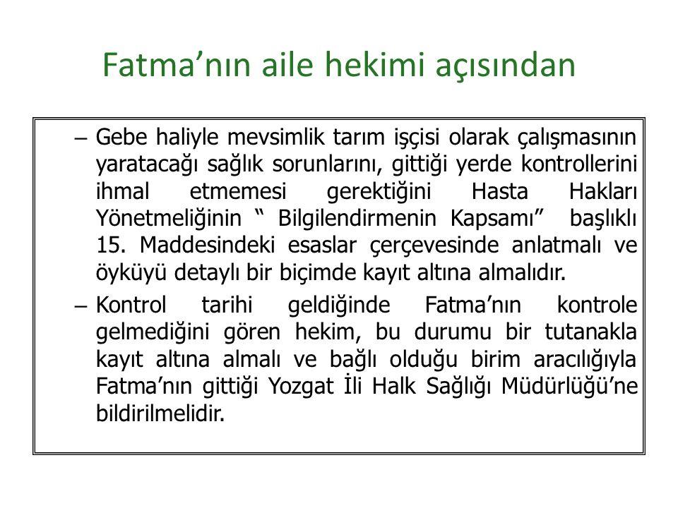 Fatma'nın aile hekimi açısından