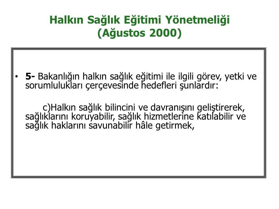 Halkın Sağlık Eğitimi Yönetmeliği (Ağustos 2000)