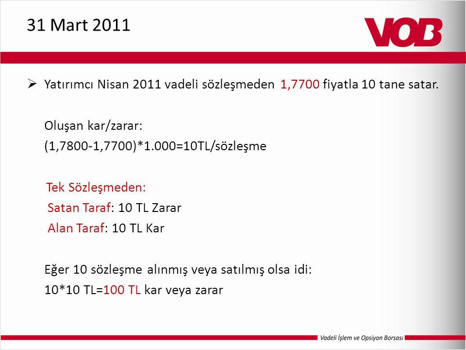 31 Mart 2011 Yatırımcı Nisan 2011 vadeli sözleşmeden 1,7700 fiyatla 10 tane satar. Oluşan kar/zarar: