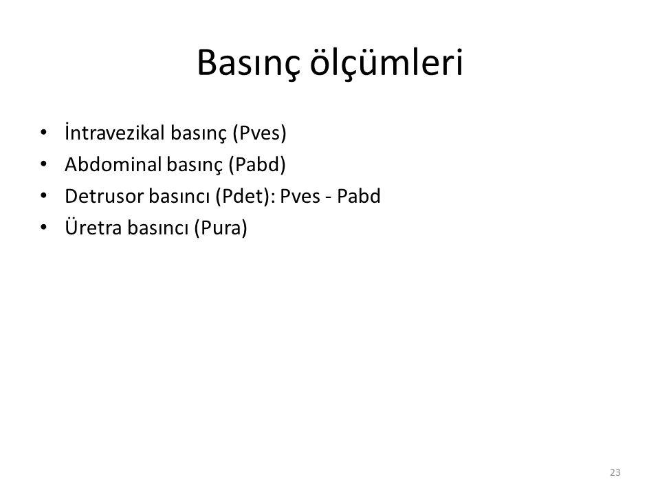 Basınç ölçümleri İntravezikal basınç (Pves) Abdominal basınç (Pabd)