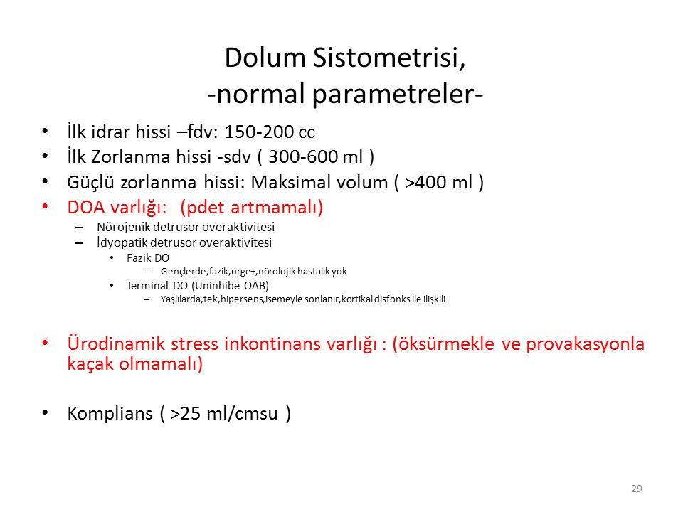 Dolum Sistometrisi, -normal parametreler-