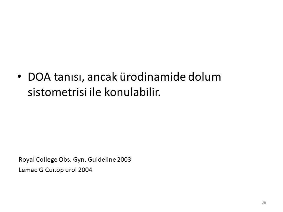 DOA tanısı, ancak ürodinamide dolum sistometrisi ile konulabilir.