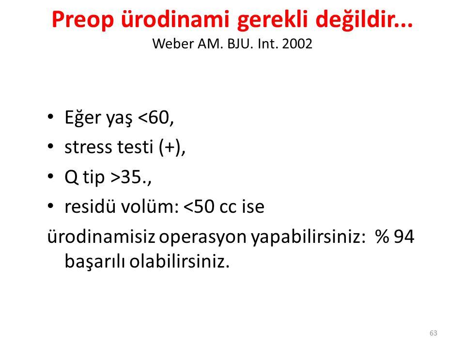 Preop ürodinami gerekli değildir... Weber AM. BJU. Int. 2002