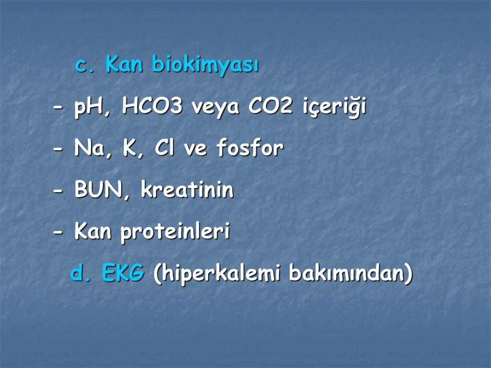 c. Kan biokimyası - pH, HCO3 veya CO2 içeriği. - Na, K, Cl ve fosfor. - BUN, kreatinin. - Kan proteinleri.