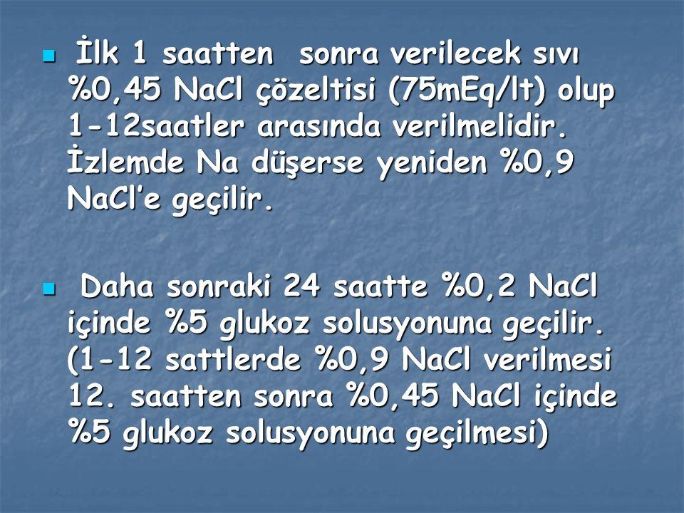 İlk 1 saatten sonra verilecek sıvı %0,45 NaCl çözeltisi (75mEq/lt) olup 1-12saatler arasında verilmelidir. İzlemde Na düşerse yeniden %0,9 NaCl'e geçilir.