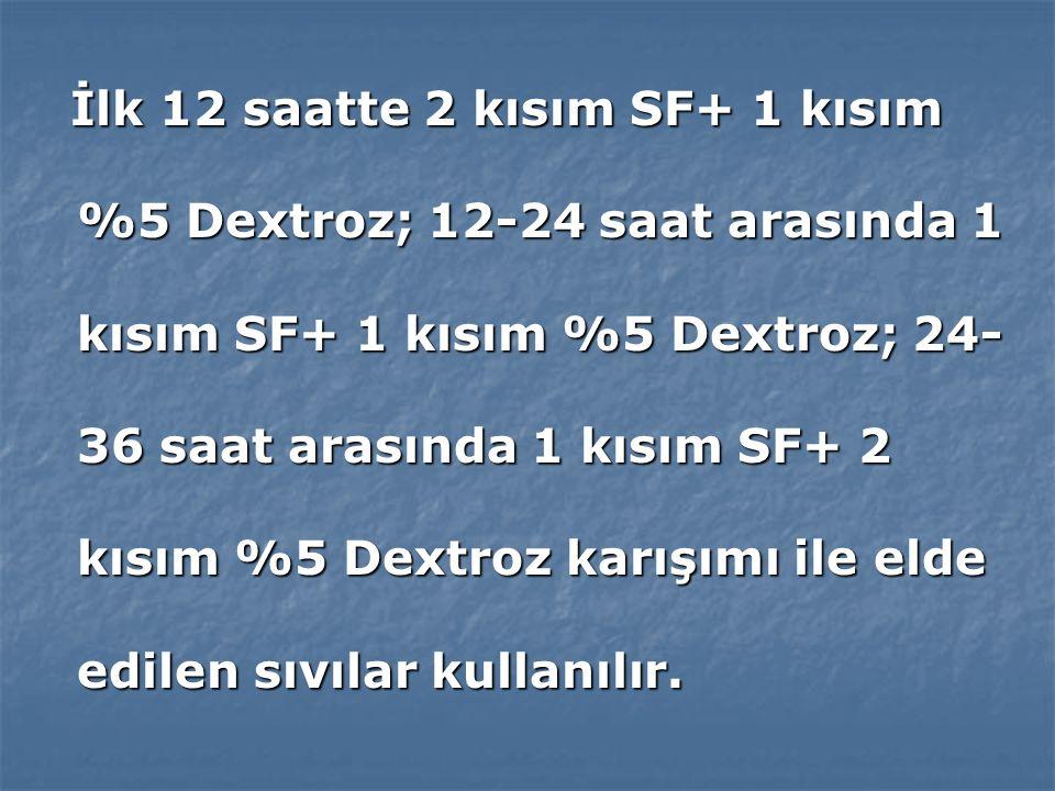 İlk 12 saatte 2 kısım SF+ 1 kısım %5 Dextroz; 12-24 saat arasında 1 kısım SF+ 1 kısım %5 Dextroz; 24-36 saat arasında 1 kısım SF+ 2 kısım %5 Dextroz karışımı ile elde edilen sıvılar kullanılır.