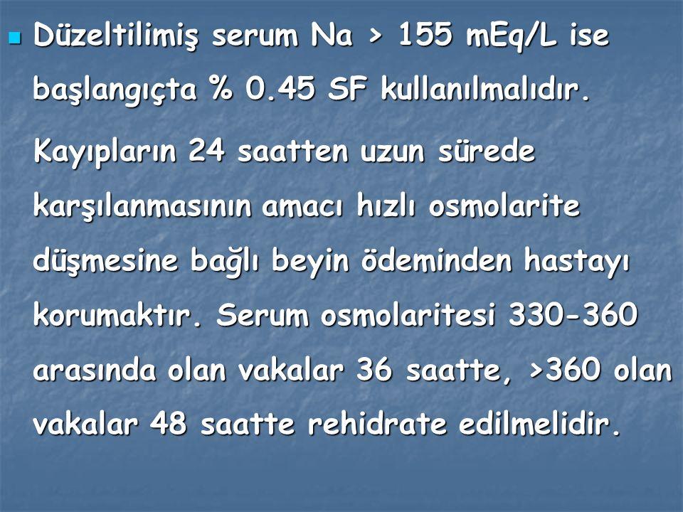 Düzeltilimiş serum Na > 155 mEq/L ise başlangıçta % 0