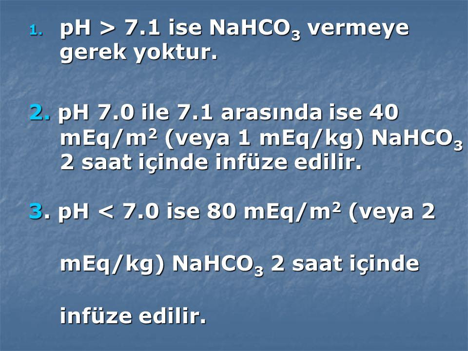 pH > 7.1 ise NaHCO3 vermeye gerek yoktur.