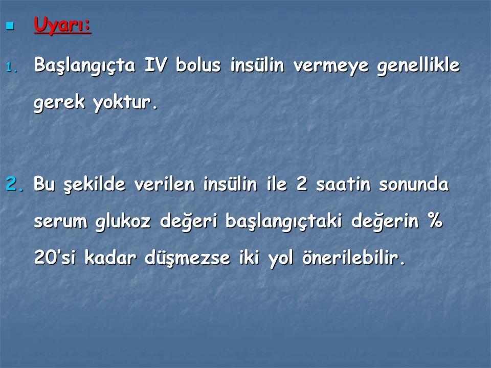 Uyarı: Başlangıçta IV bolus insülin vermeye genellikle gerek yoktur.