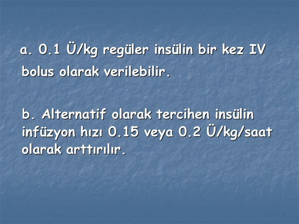 a. 0.1 Ü/kg regüler insülin bir kez IV bolus olarak verilebilir.