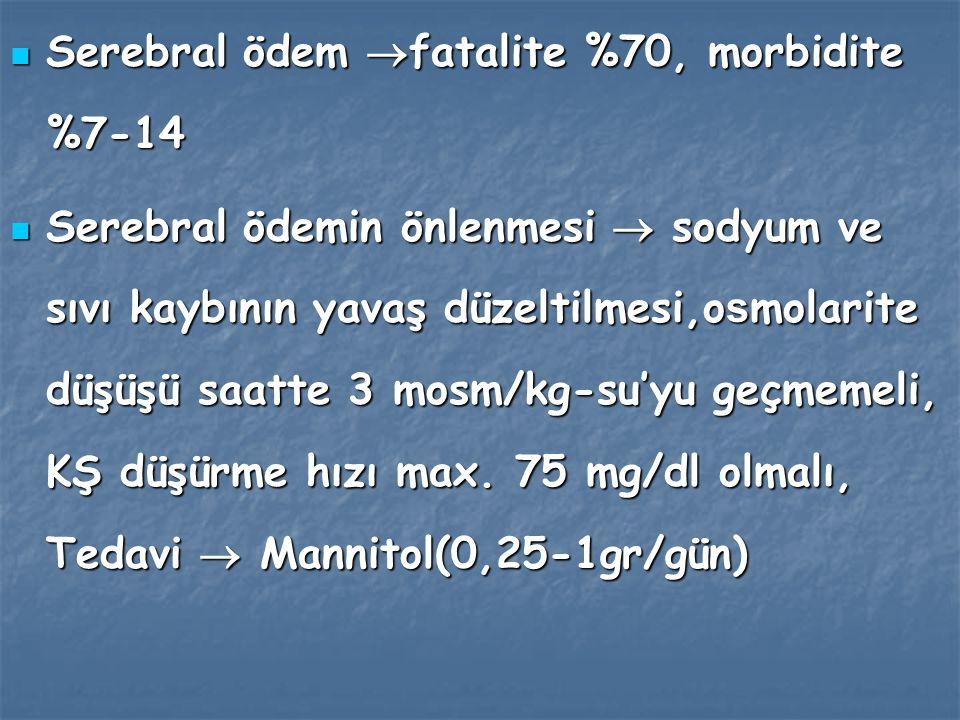 Serebral ödem fatalite %70, morbidite %7-14