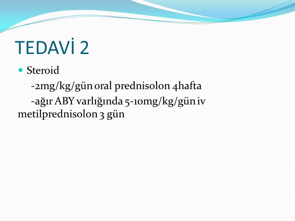 TEDAVİ 2 Steroid -2mg/kg/gün oral prednisolon 4hafta