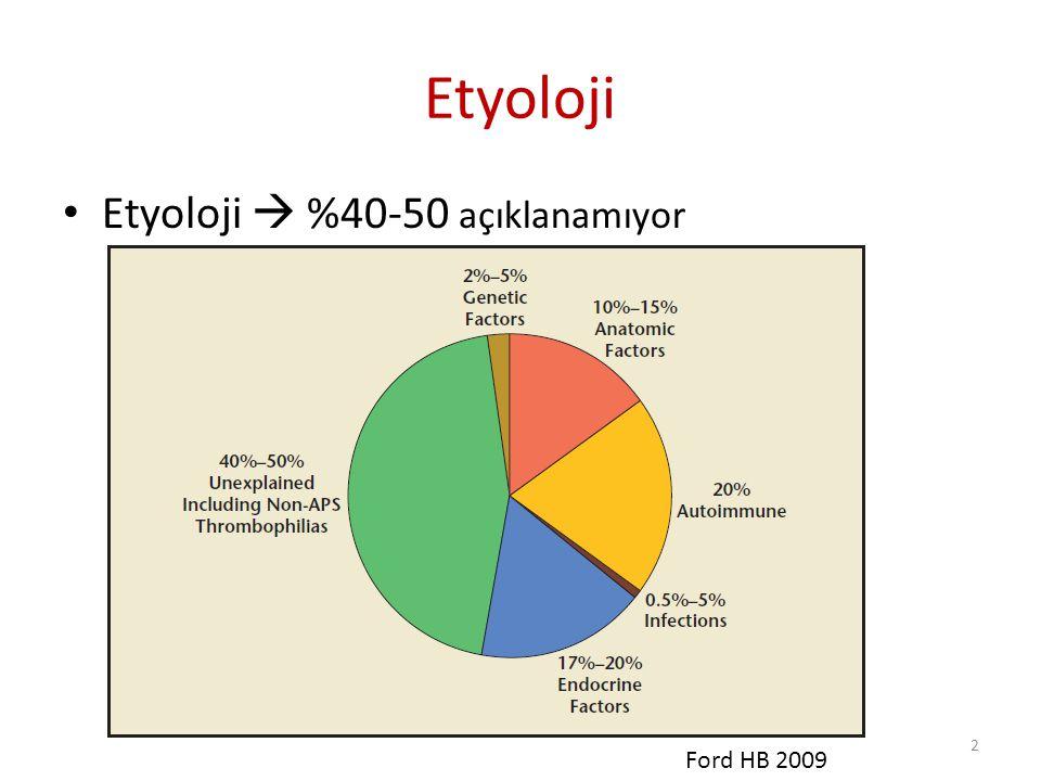 Etyoloji Etyoloji  %40-50 açıklanamıyor Ford HB 2009