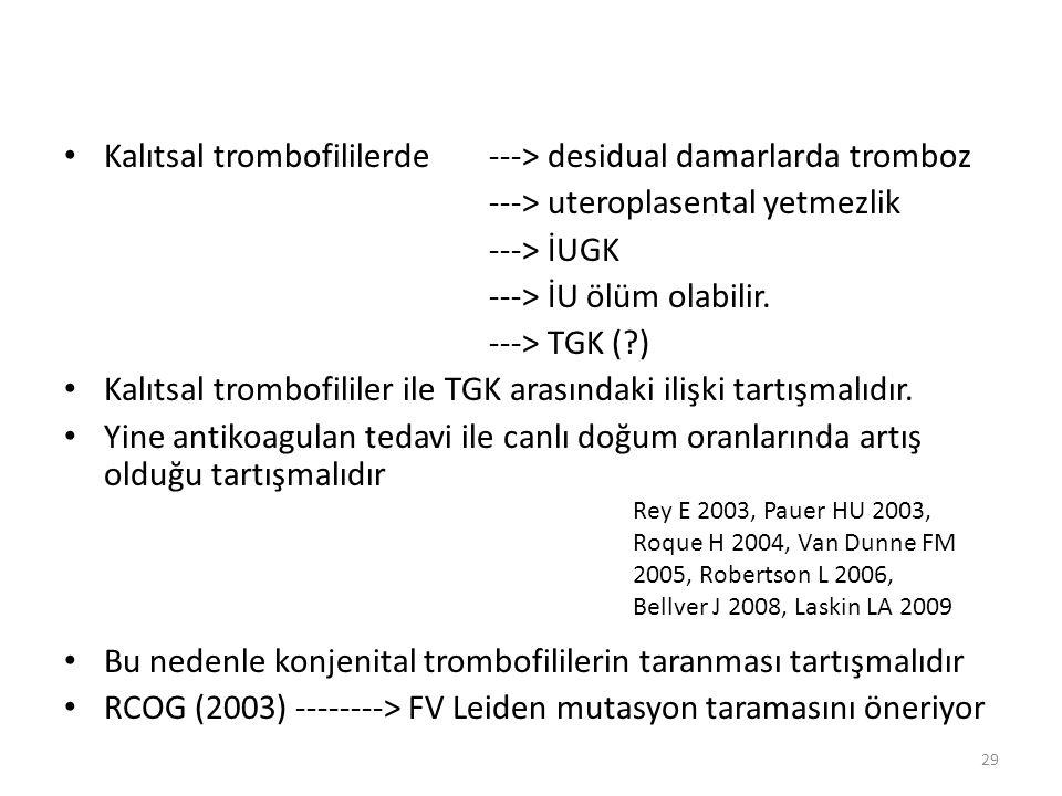 Kalıtsal trombofililerde ---> desidual damarlarda tromboz