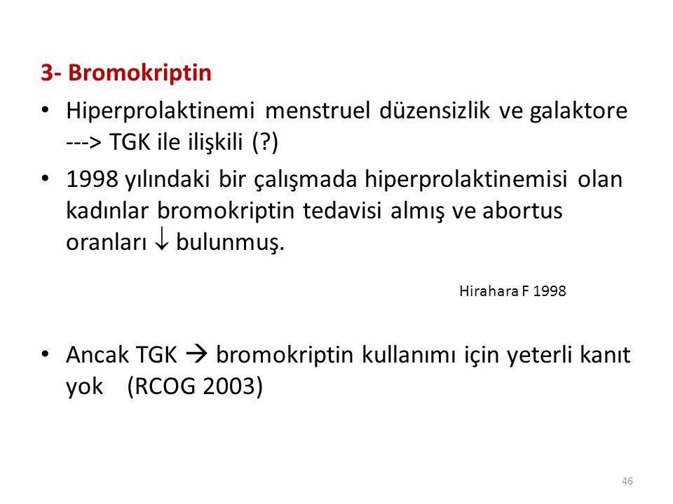 Ancak TGK  bromokriptin kullanımı için yeterli kanıt yok (RCOG 2003)