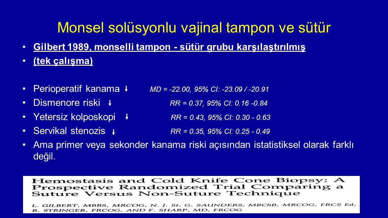 Monsel solüsyonlu vajinal tampon ve sütür
