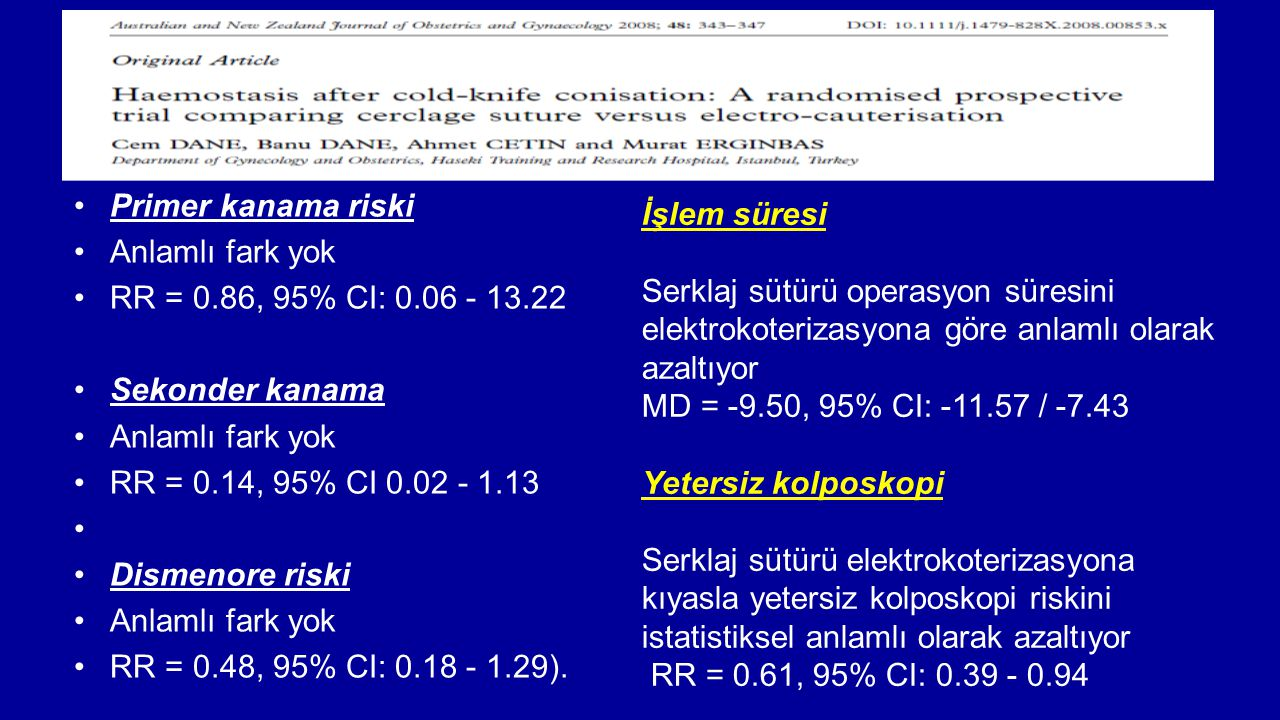 Primer kanama riski Anlamlı fark yok. RR = 0.86, 95% CI: 0.06 - 13.22. Sekonder kanama. RR = 0.14, 95% CI 0.02 - 1.13.