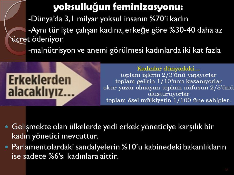 yoksulluğun feminizasyonu: