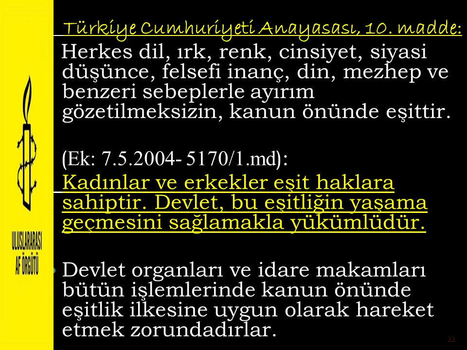 Türkiye Cumhuriyeti Anayasası, 10. madde: