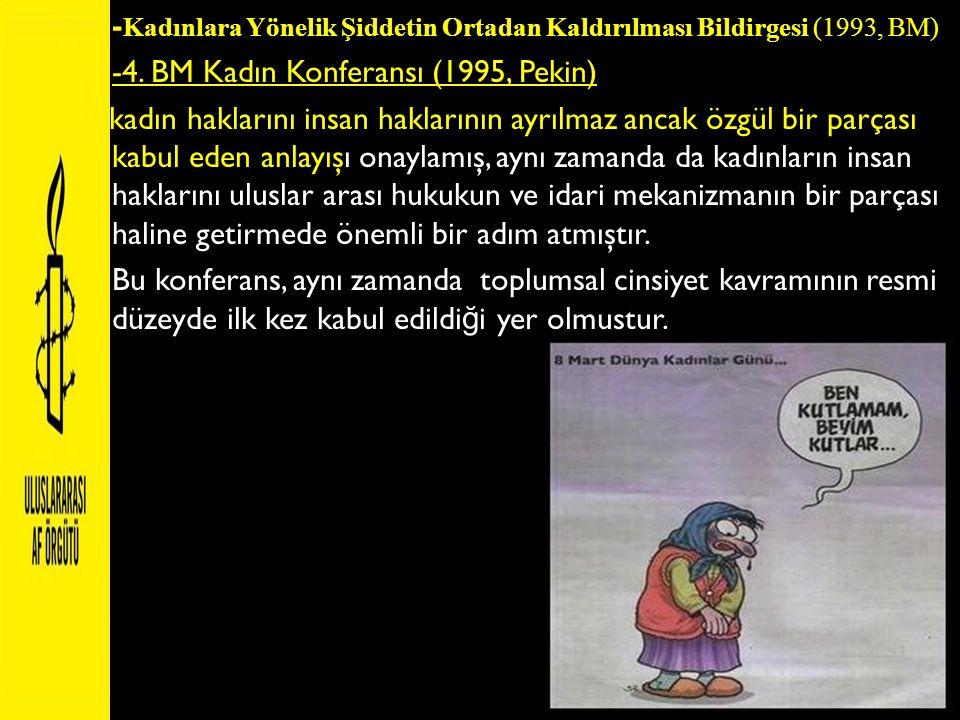 -Kadınlara Yönelik Şiddetin Ortadan Kaldırılması Bildirgesi (1993, BM)