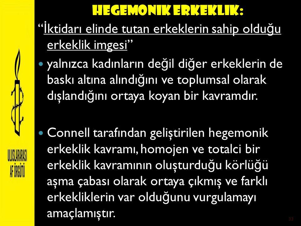 Hegemonik Erkeklik: İktidarı elinde tutan erkeklerin sahip olduğu erkeklik imgesi