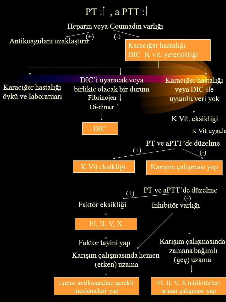 PT : , a PTT : Heparin veya Coumadin varlığı