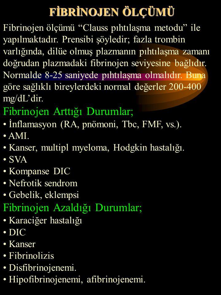 Fibrinojen Arttığı Durumlar;