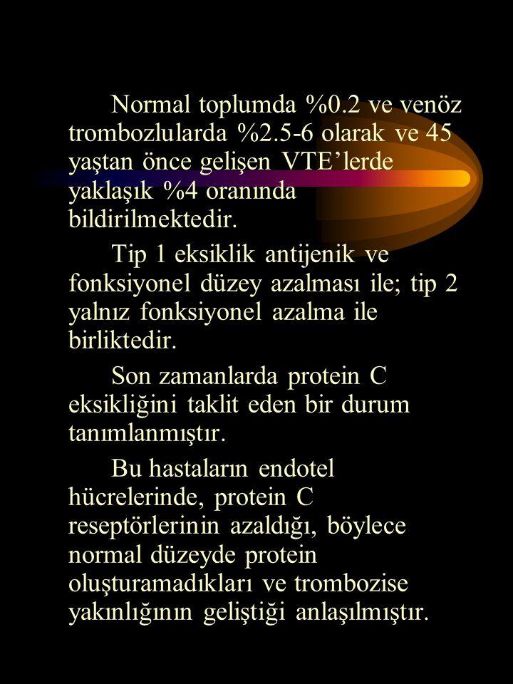 Normal toplumda %0. 2 ve venöz trombozlularda %2
