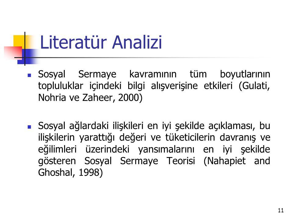 Literatür Analizi Sosyal Sermaye kavramının tüm boyutlarının topluluklar içindeki bilgi alışverişine etkileri (Gulati, Nohria ve Zaheer, 2000)