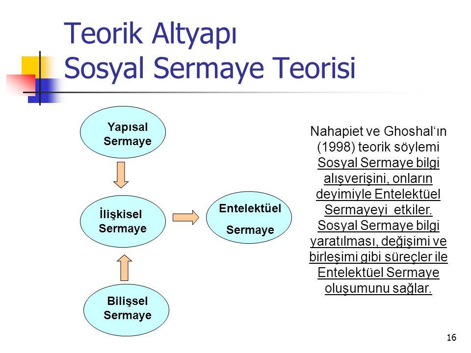Teorik Altyapı Sosyal Sermaye Teorisi