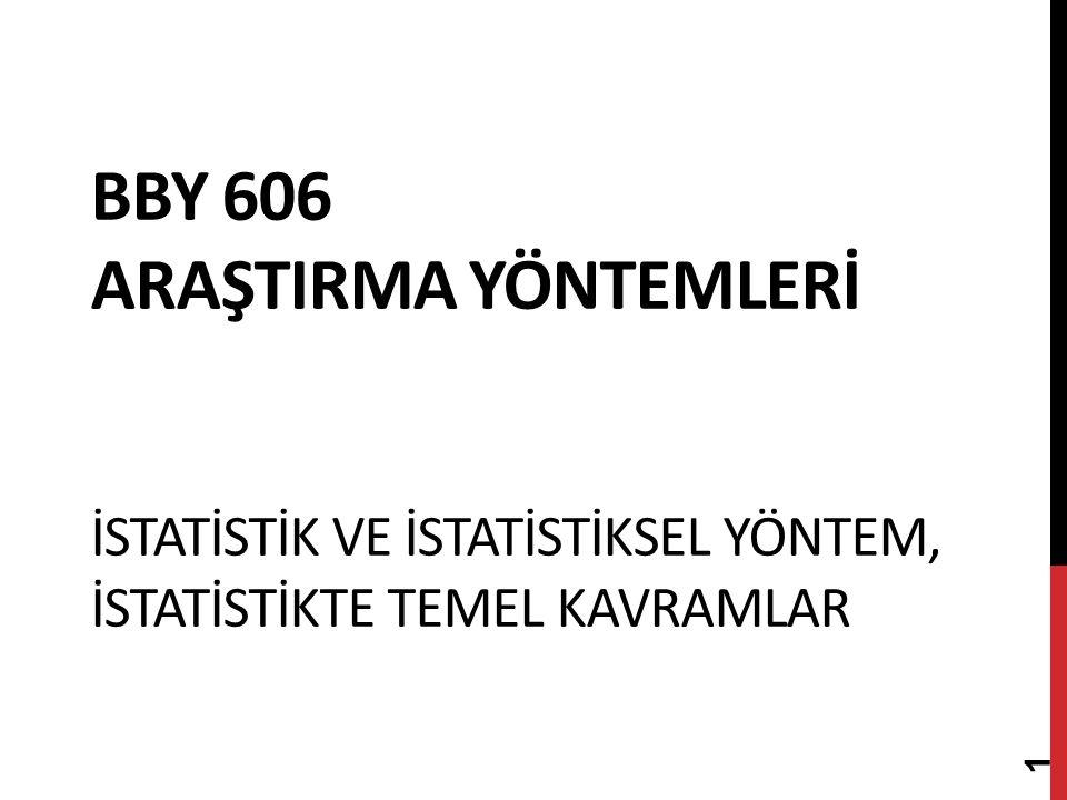 Bby 606 AraştIrma yöntemlerİ İstatİstİk ve İstatİstİksel Yöntem, İstatİstİkte Temel Kavramlar