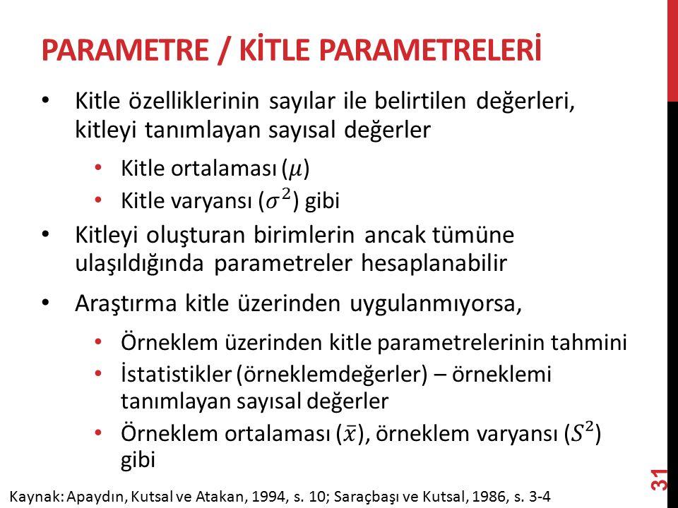 PARAMETRE / KİTLE PARAMETRelerİ