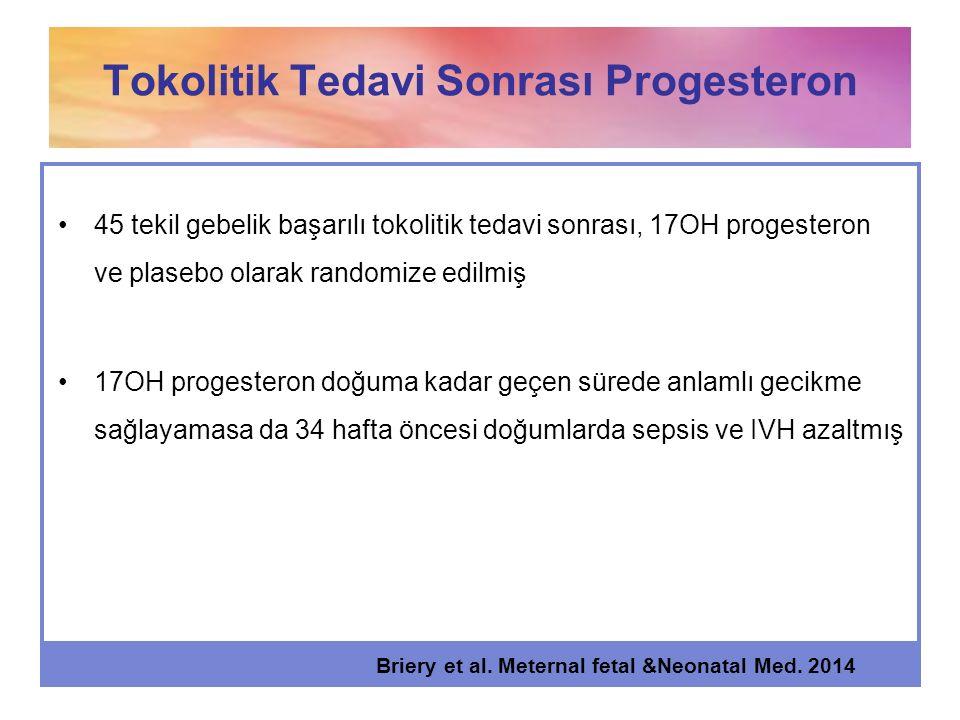 Tokolitik Tedavi Sonrası Progesteron