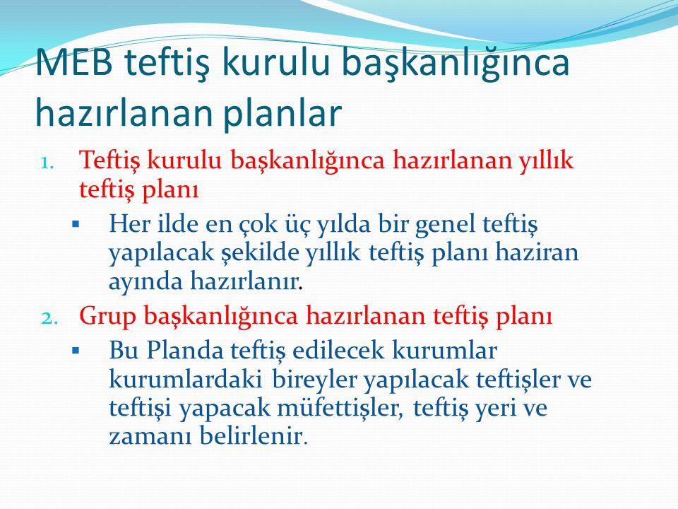 MEB teftiş kurulu başkanlığınca hazırlanan planlar