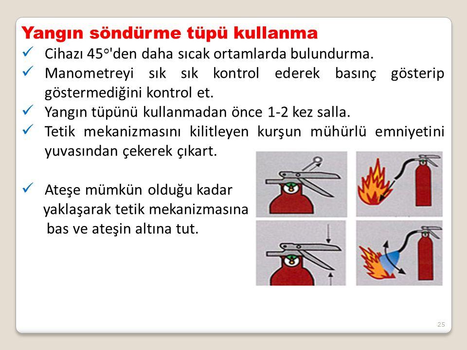 Yangın söndürme tüpü kullanma