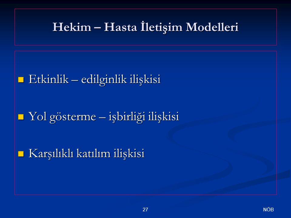Hekim – Hasta İletişim Modelleri