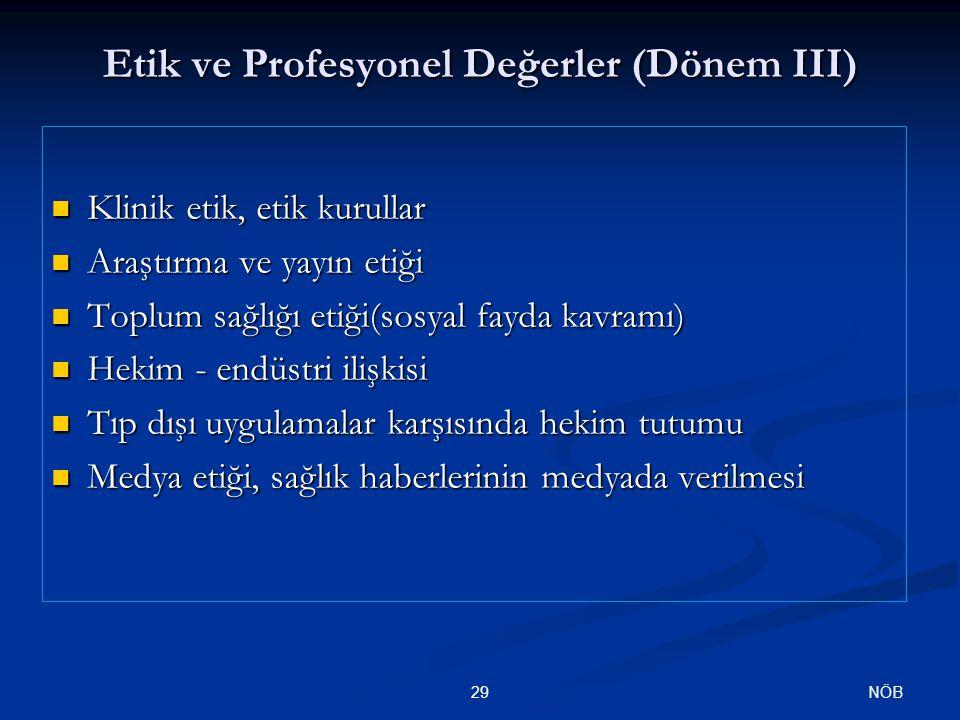 Etik ve Profesyonel Değerler (Dönem III)