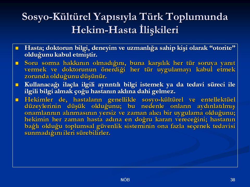 Sosyo-Kültürel Yapısıyla Türk Toplumunda Hekim-Hasta İlişkileri