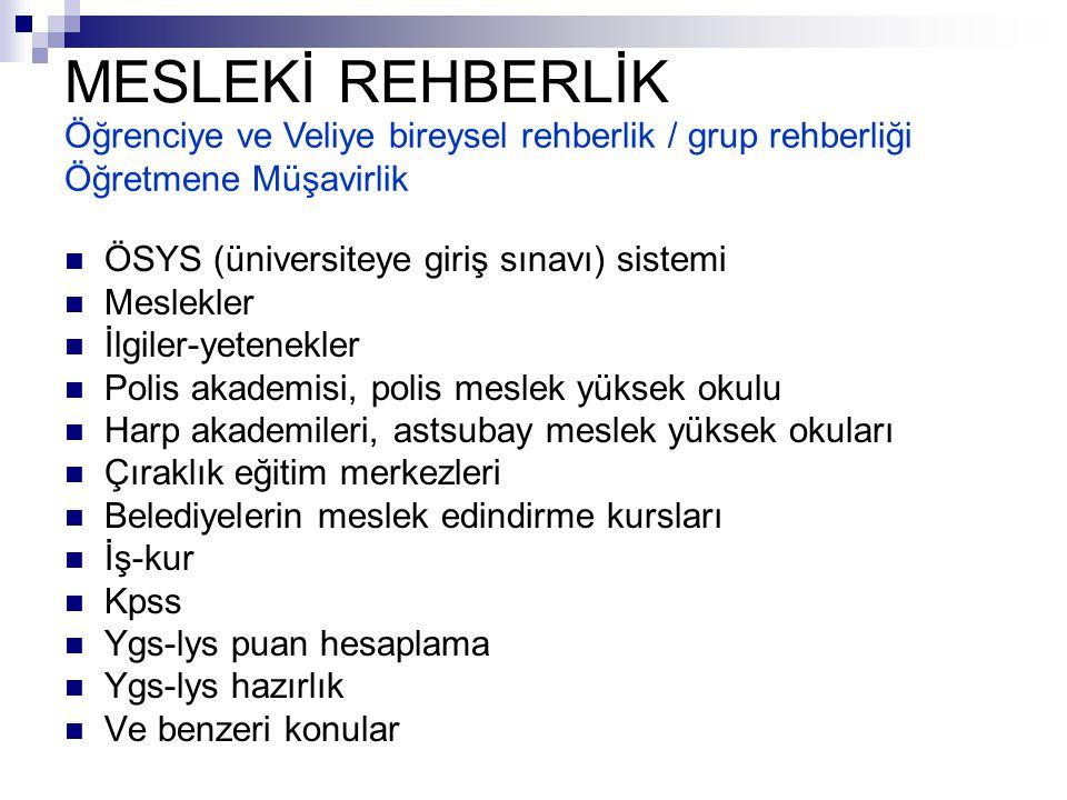 MESLEKİ REHBERLİK Öğrenciye ve Veliye bireysel rehberlik / grup rehberliği Öğretmene Müşavirlik. ÖSYS (üniversiteye giriş sınavı) sistemi.