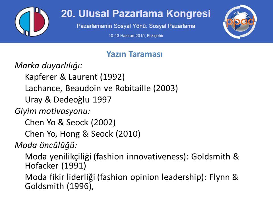 Yazın Taraması Marka duyarlılığı: Kapferer & Laurent (1992) Lachance, Beaudoin ve Robitaille (2003) Uray & Dedeoğlu 1997 Giyim motivasyonu: Chen Yo & Seock (2002) Chen Yo, Hong & Seock (2010) Moda öncülüğü: Moda yenilikçiliği (fashion innovativeness): Goldsmith & Hofacker (1991) Moda fikir liderliği (fashion opinion leadership): Flynn & Goldsmith (1996),