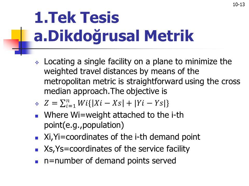 1.Tek Tesis a.Dikdoğrusal Metrik