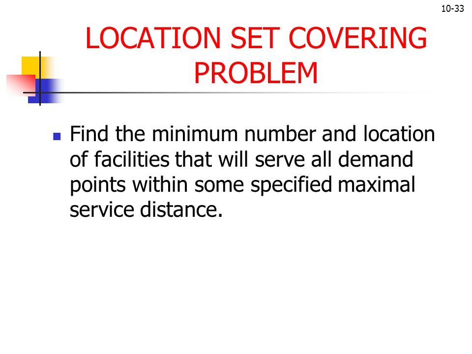 LOCATION SET COVERING PROBLEM
