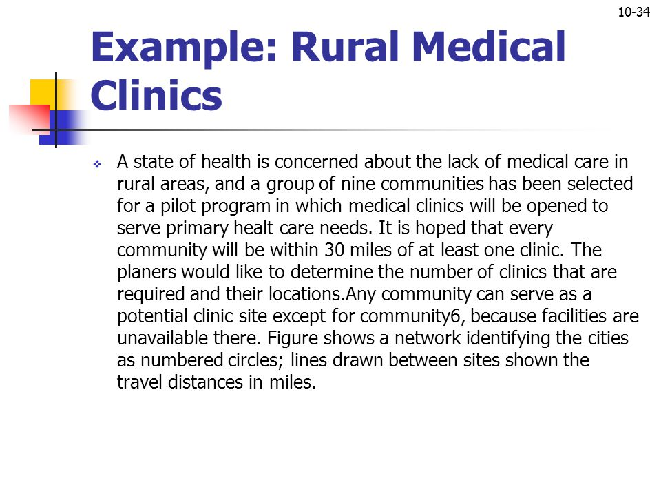 Example: Rural Medical Clinics