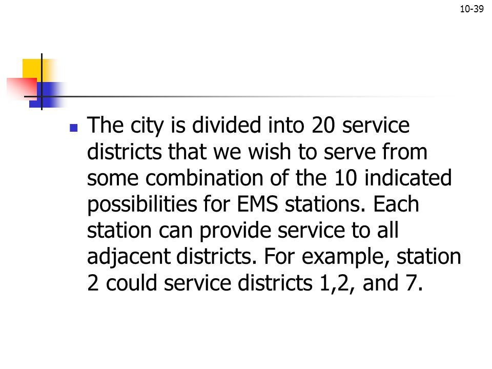 The city is divided into 20 service districts that we wish to serve from some combination of the 10 indicated possibilities for EMS stations. Each station can provide service to all adjacent districts. For example, station 2 could service districts 1,2, and 7.