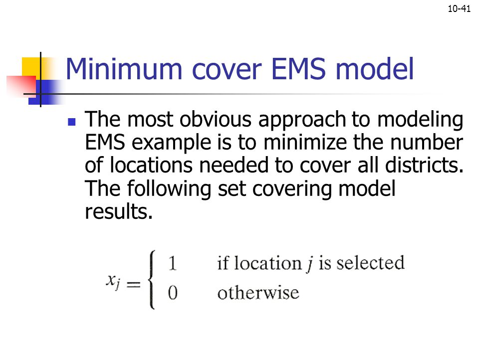 Minimum cover EMS model